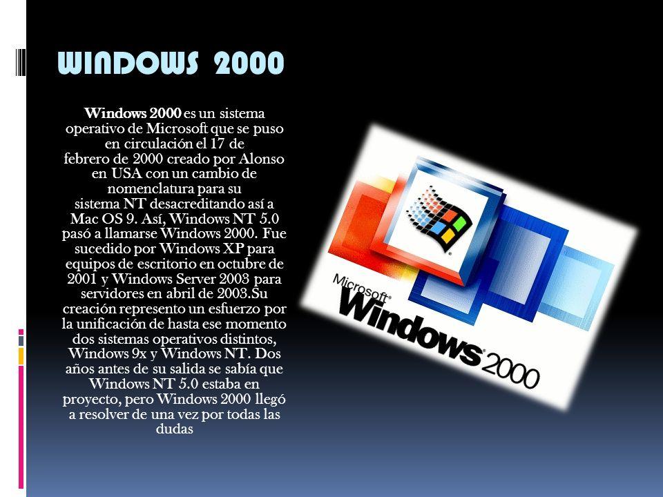 WINDOWS 98 Windows 98 (cuyo nombre en clave es Memphis) es un sistema operativo gráfico publicado el 25 de junio de 1998 por Microsoft y el sucesor de