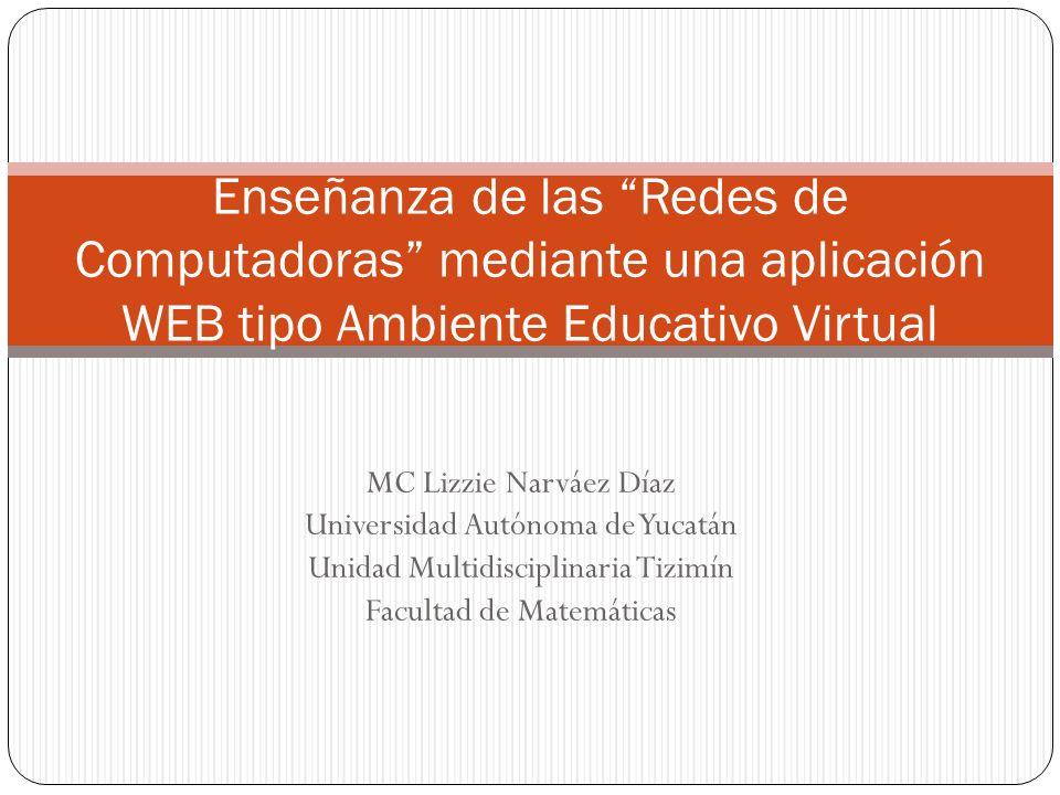 MC Lizzie Narváez Díaz Universidad Autónoma de Yucatán Unidad Multidisciplinaria Tizimín Facultad de Matemáticas Enseñanza de las Redes de Computadora