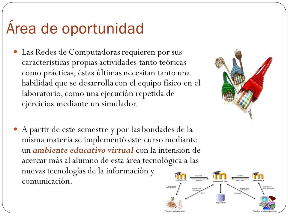 Área de oportunidad Las Redes de Computadoras requieren por sus características propias actividades tanto teóricas como prácticas, éstas últimas neces