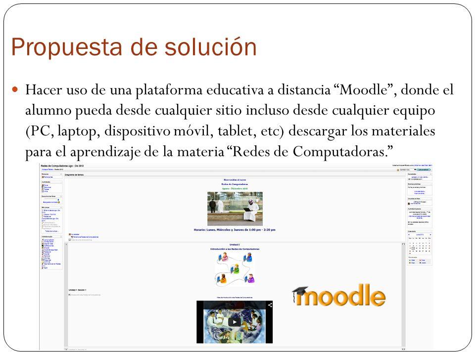 Propuesta de solución Hacer uso de una plataforma educativa a distancia Moodle, donde el alumno pueda desde cualquier sitio incluso desde cualquier eq