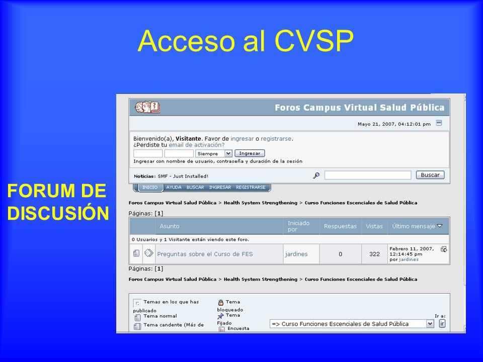 FORUM DE DISCUSIÓN Acceso al CVSP