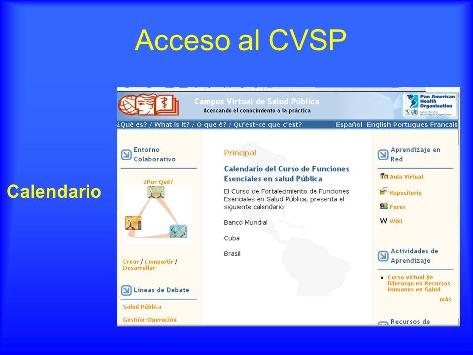 Calendario Acceso al CVSP