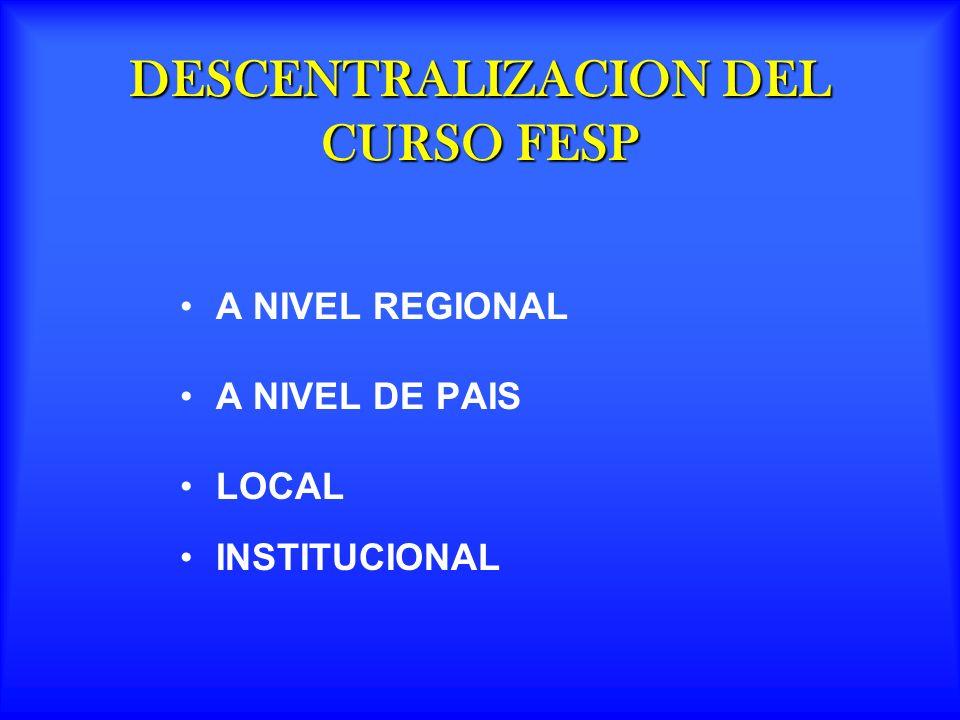 DESCENTRALIZACION DEL CURSO FESP A NIVEL REGIONAL A NIVEL DE PAIS LOCAL INSTITUCIONAL