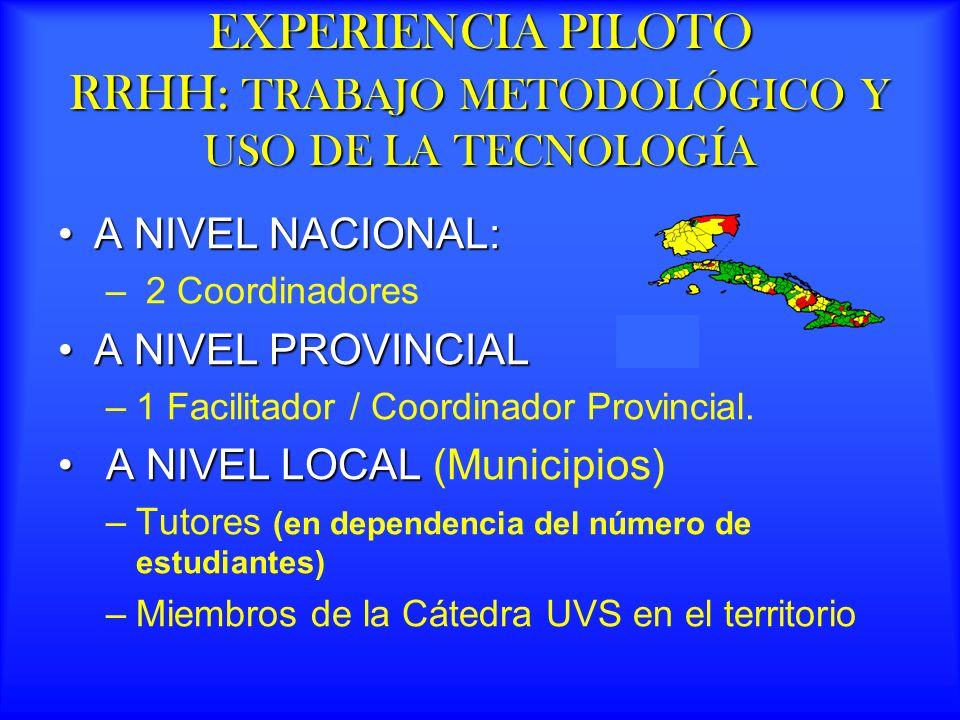 EXPERIENCIA PILOTO RRHH: TRABAJO METODOLÓGICO Y USO DE LA TECNOLOGÍA A NIVEL NACIONAL:A NIVEL NACIONAL: – 2 Coordinadores A NIVEL PROVINCIALA NIVEL PROVINCIAL –1 Facilitador / Coordinador Provincial.