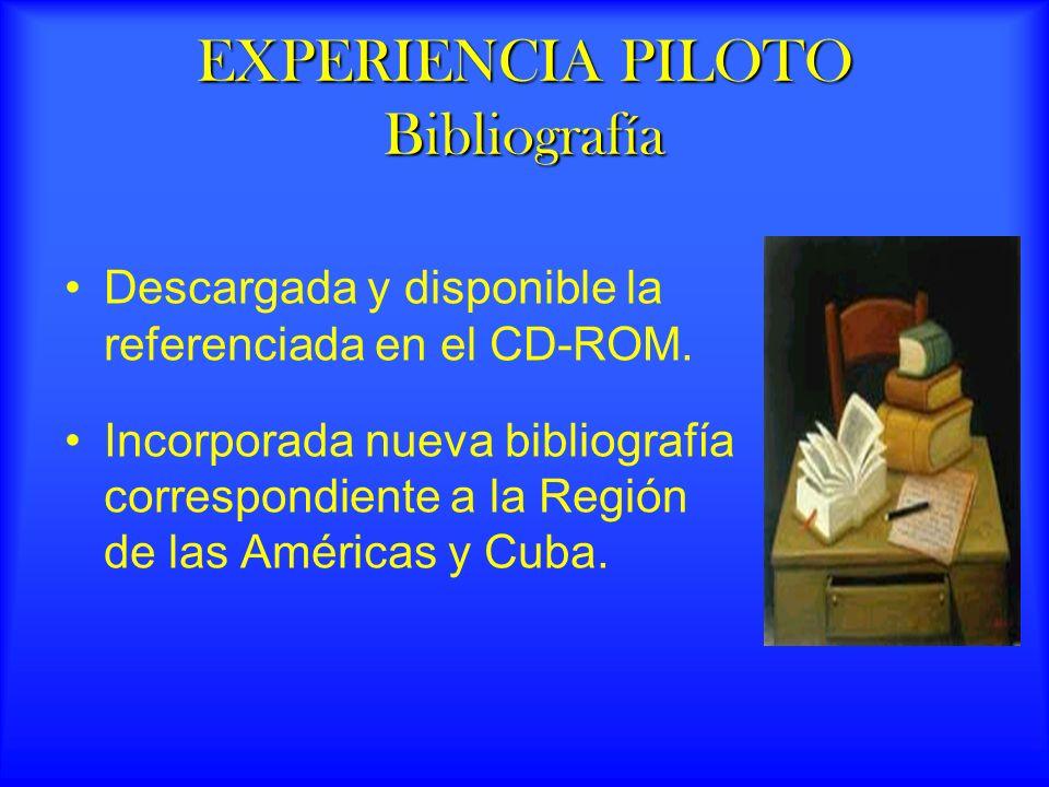 EXPERIENCIA PILOTO Bibliografía Descargada y disponible la referenciada en el CD-ROM.