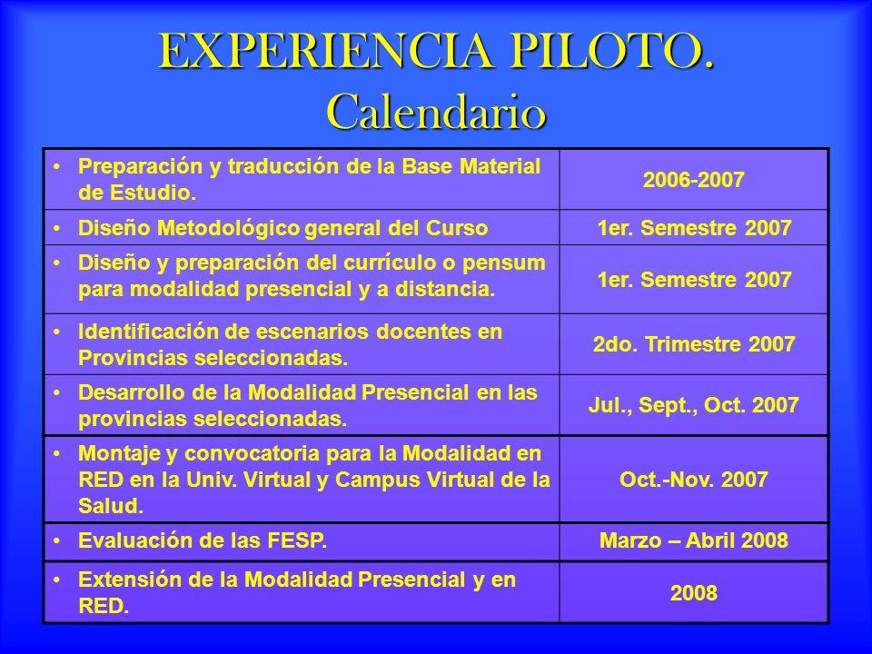 EXPERIENCIA PILOTO.Calendario Preparación y traducción de la Base Material de Estudio.