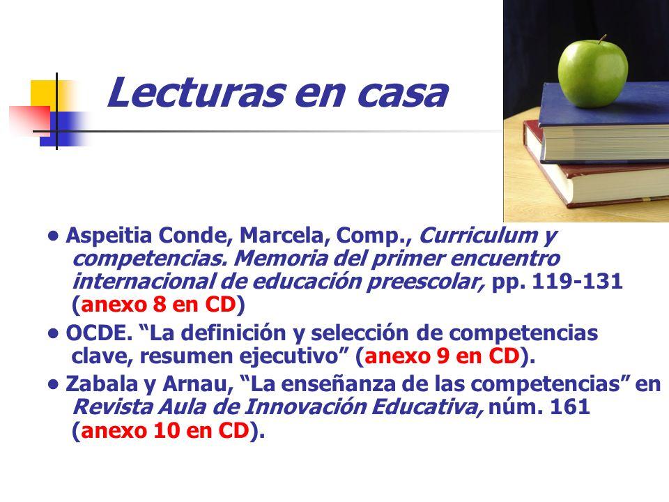 Lecturas en casa Aspeitia Conde, Marcela, Comp., Curriculum y competencias. Memoria del primer encuentro internacional de educación preescolar, pp. 11