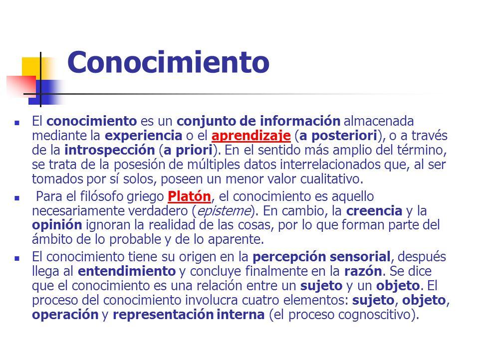 Conocimiento El conocimiento es un conjunto de información almacenada mediante la experiencia o el aprendizaje (a posteriori), o a través de la intros