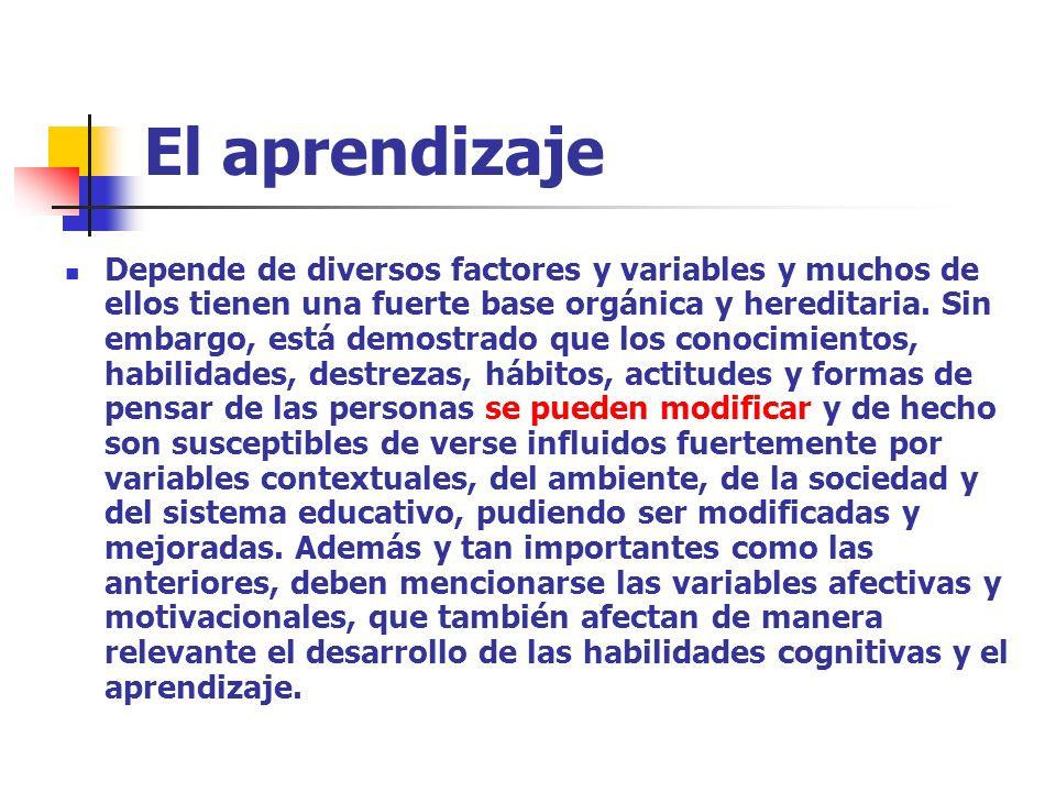 El aprendizaje Depende de diversos factores y variables y muchos de ellos tienen una fuerte base orgánica y hereditaria. Sin embargo, está demostrado