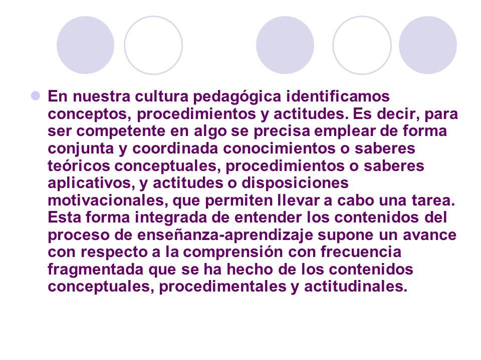 En nuestra cultura pedagógica identificamos conceptos, procedimientos y actitudes. Es decir, para ser competente en algo se precisa emplear de forma c