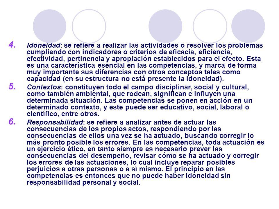 4. Idoneidad: se refiere a realizar las actividades o resolver los problemas cumpliendo con indicadores o criterios de eficacia, eficiencia, efectivid