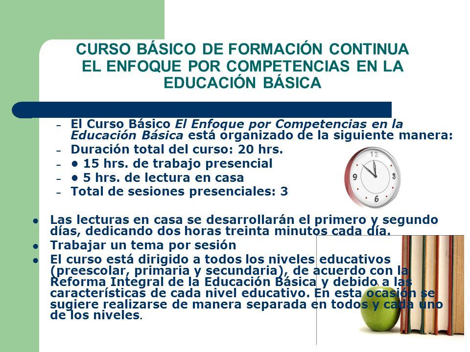 CURSO BÁSICO DE FORMACIÓN CONTINUA EL ENFOQUE POR COMPETENCIAS EN LA EDUCACIÓN BÁSICA – El Curso Básico El Enfoque por Competencias en la Educación Bá