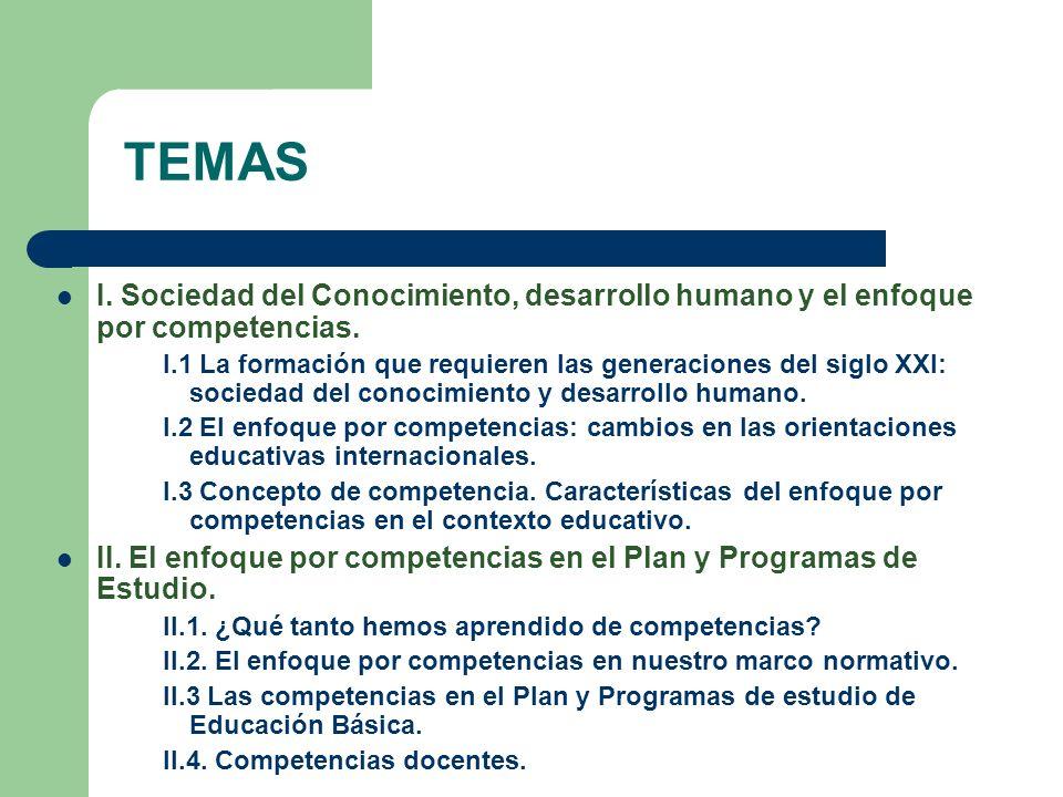 TEMAS I. Sociedad del Conocimiento, desarrollo humano y el enfoque por competencias. I.1 La formación que requieren las generaciones del siglo XXI: so