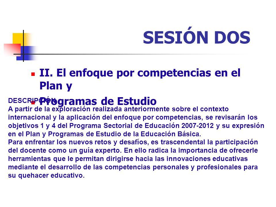 SESIÓN DOS II. El enfoque por competencias en el Plan y Programas de Estudio DESCRIPCIÓN A partir de la exploración realizada anteriormente sobre el c