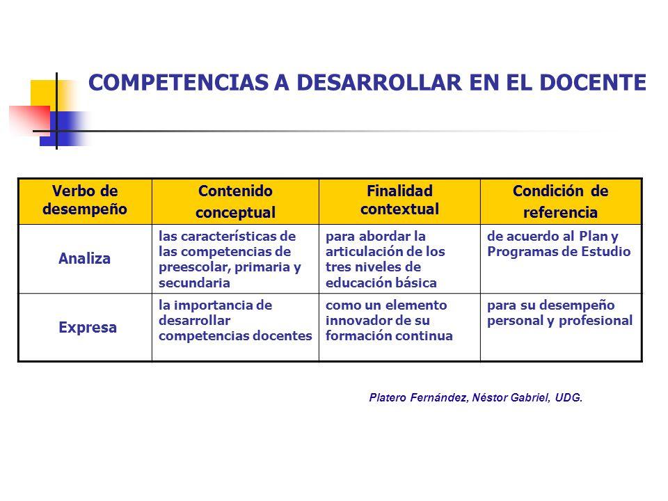 COMPETENCIAS A DESARROLLAR EN EL DOCENTE Verbo de desempeño Contenido conceptual Finalidad contextual Condición de referencia Analiza las característi