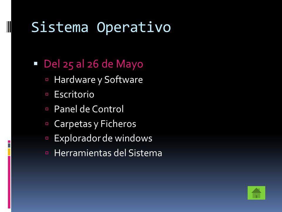 Sistema Operativo Del 25 al 26 de Mayo Hardware y Software Escritorio Panel de Control Carpetas y Ficheros Explorador de windows Herramientas del Sist
