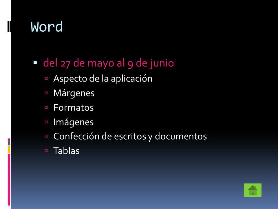 Word del 27 de mayo al 9 de junio Aspecto de la aplicación Márgenes Formatos Imágenes Confección de escritos y documentos Tablas