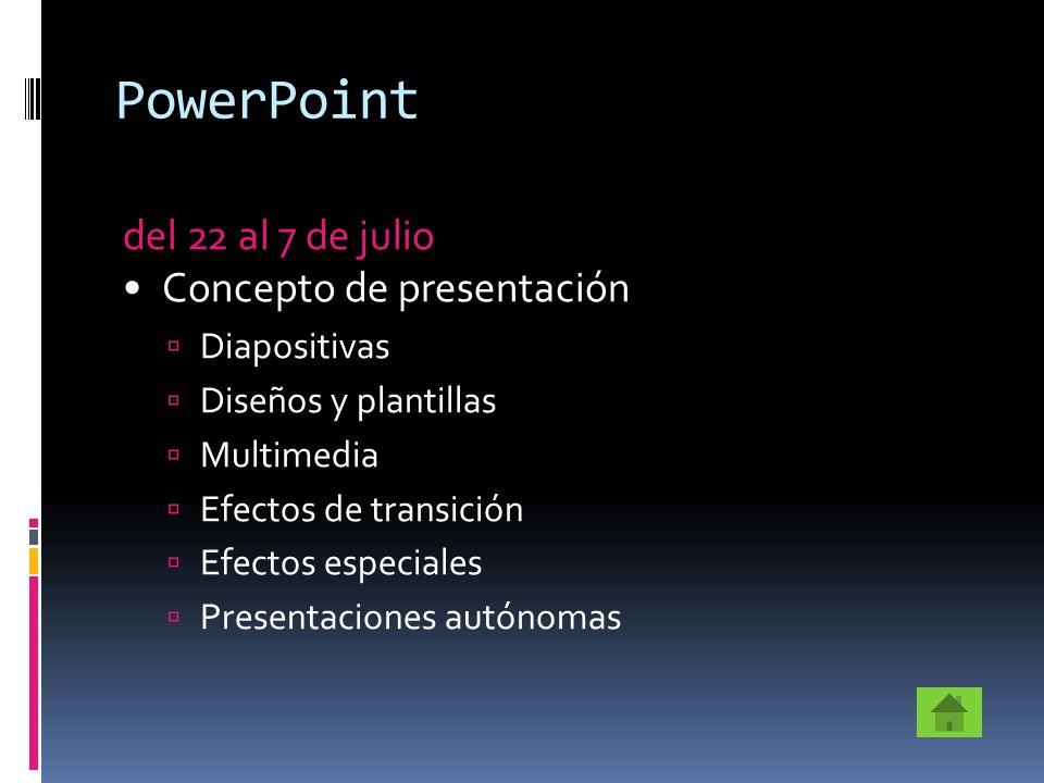 PowerPoint del 22 al 7 de julio Concepto de presentación Diapositivas Diseños y plantillas Multimedia Efectos de transición Efectos especiales Present