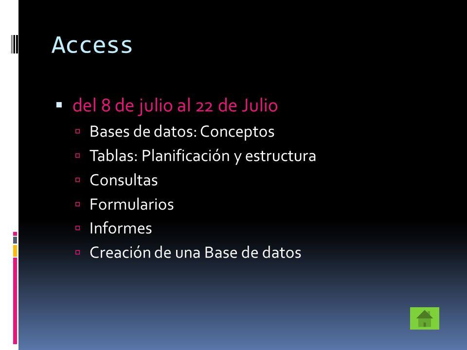 Access del 8 de julio al 22 de Julio Bases de datos: Conceptos Tablas: Planificación y estructura Consultas Formularios Informes Creación de una Base