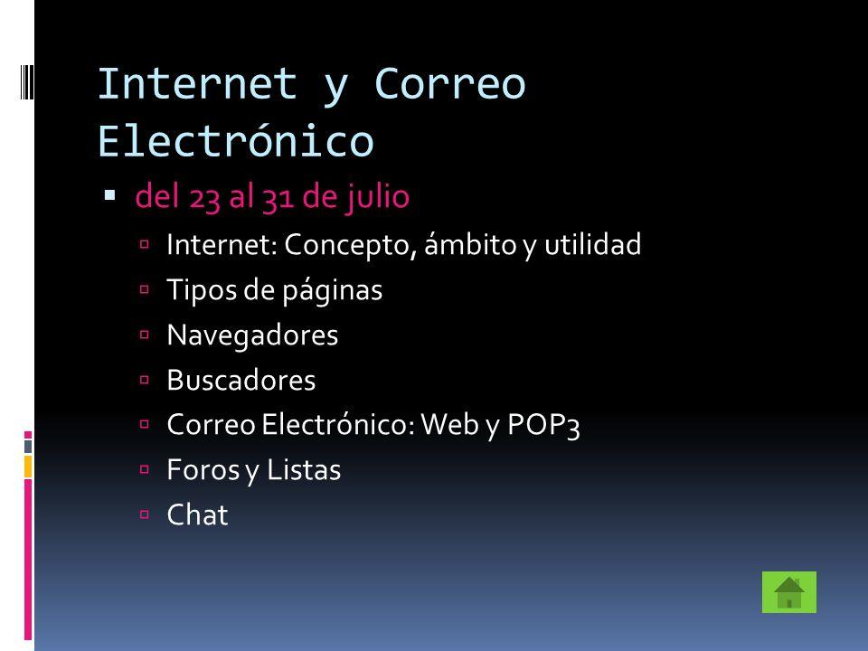 Internet y Correo Electrónico del 23 al 31 de julio Internet: Concepto, ámbito y utilidad Tipos de páginas Navegadores Buscadores Correo Electrónico: