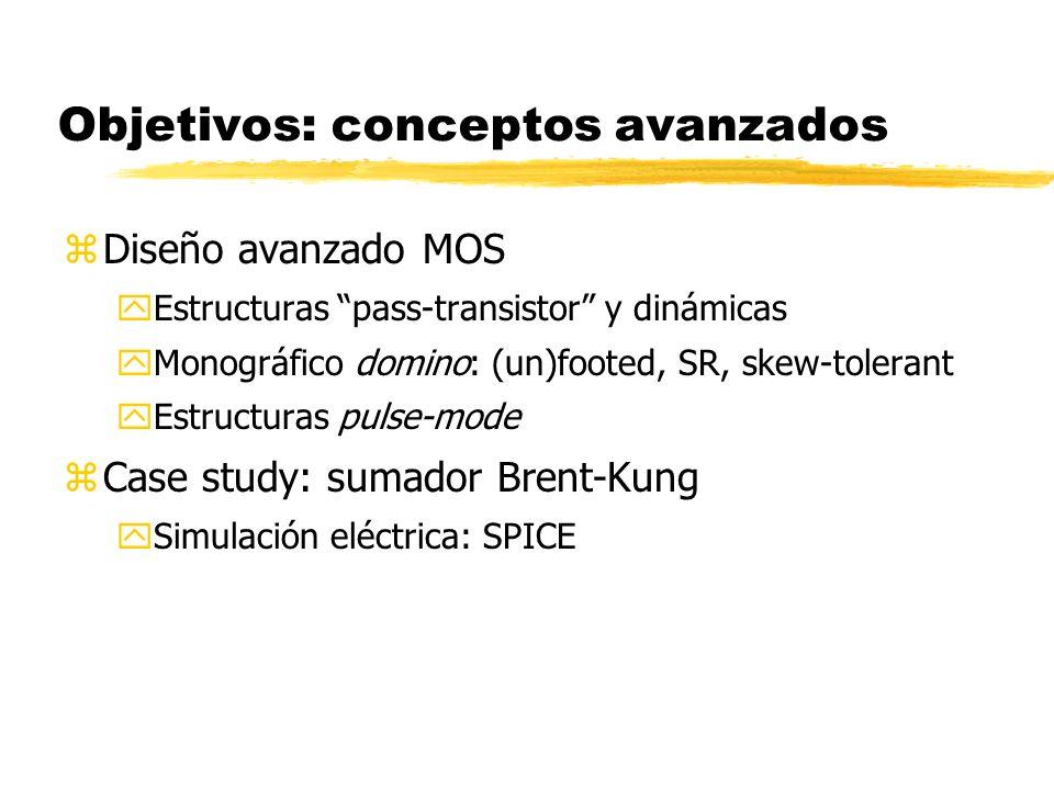 Objetivos: conceptos avanzados zDiseño avanzado MOS yEstructuras pass-transistor y dinámicas yMonográfico domino: (un)footed, SR, skew-tolerant yEstructuras pulse-mode zCase study: sumador Brent-Kung ySimulación eléctrica: SPICE