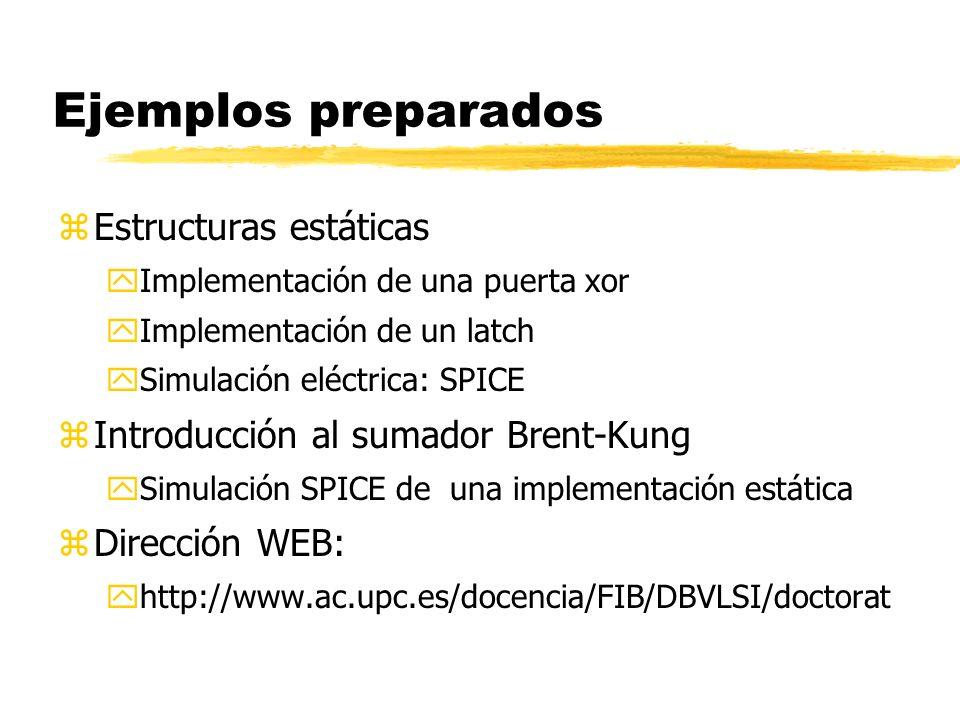 Ejemplos preparados zEstructuras estáticas yImplementación de una puerta xor yImplementación de un latch ySimulación eléctrica: SPICE zIntroducción al sumador Brent-Kung ySimulación SPICE de una implementación estática zDirección WEB: yhttp://www.ac.upc.es/docencia/FIB/DBVLSI/doctorat