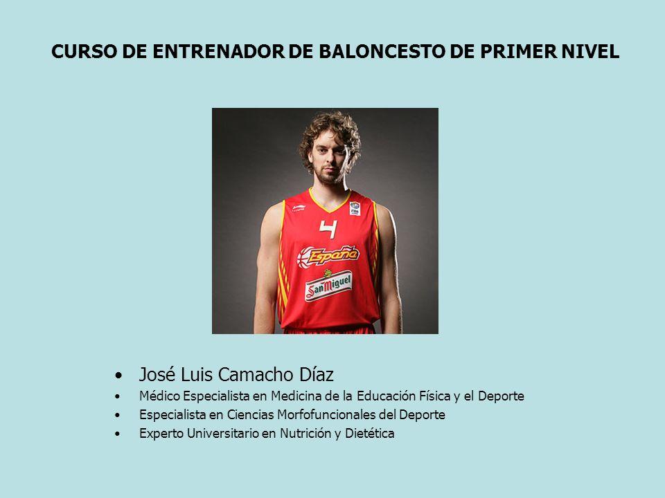CURSO DE ENTRENADOR DE BALONCESTO DE PRIMER NIVEL José Luis Camacho Díaz Médico Especialista en Medicina de la Educación Física y el Deporte Especiali