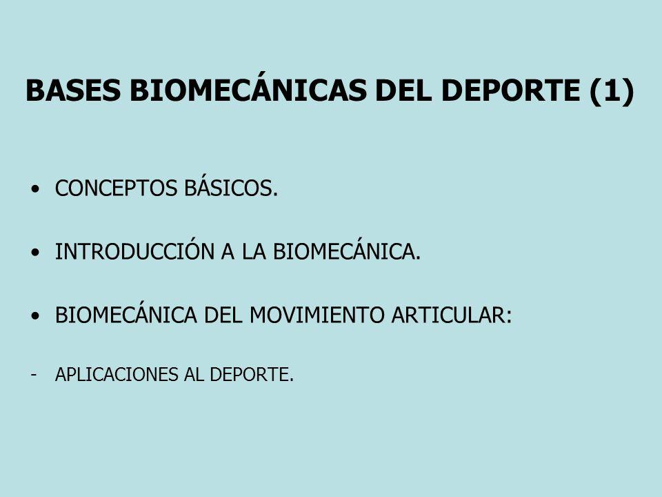 BASES BIOMECÁNICAS DEL DEPORTE (1) CONCEPTOS BÁSICOS. INTRODUCCIÓN A LA BIOMECÁNICA. BIOMECÁNICA DEL MOVIMIENTO ARTICULAR: -APLICACIONES AL DEPORTE.
