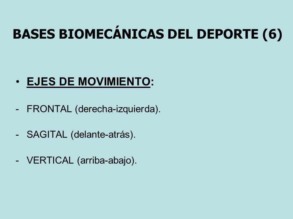 BASES BIOMECÁNICAS DEL DEPORTE (6) EJES DE MOVIMIENTO: -FRONTAL (derecha-izquierda). -SAGITAL (delante-atrás). -VERTICAL (arriba-abajo).