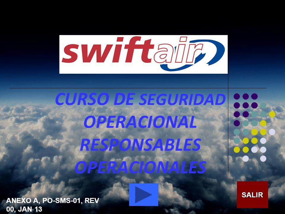 CURSO DE SEGURIDAD OPERACIONAL RESPONSABLES OPERACIONALES SALIR ANEXO A, PO-SMS-01, REV 00, JAN 13