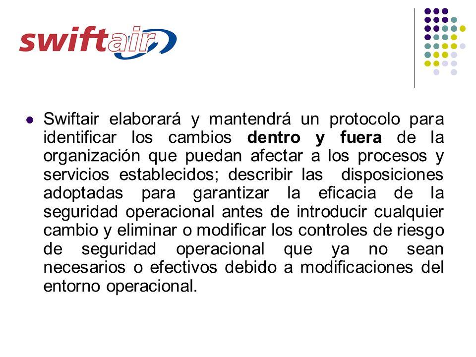 Swiftair elaborará y mantendrá un protocolo para identificar los cambios dentro y fuera de la organización que puedan afectar a los procesos y servici
