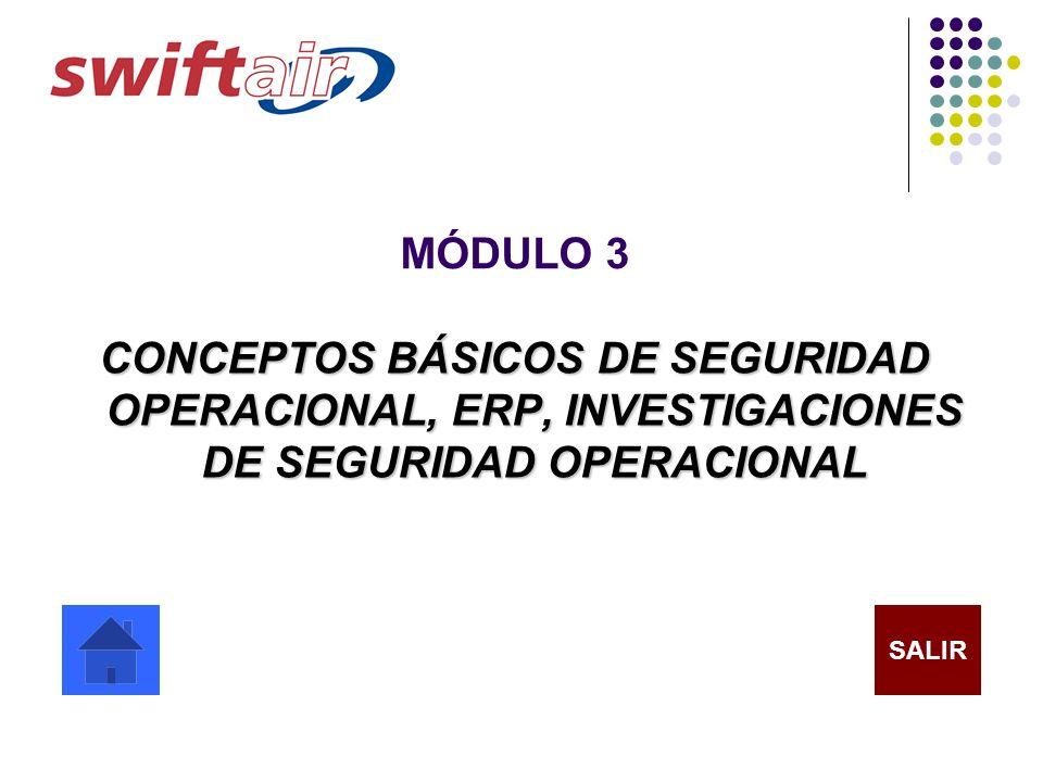 MÓDULO 3 CONCEPTOS BÁSICOS DE SEGURIDAD OPERACIONAL, ERP, INVESTIGACIONES DE SEGURIDAD OPERACIONAL SALIR