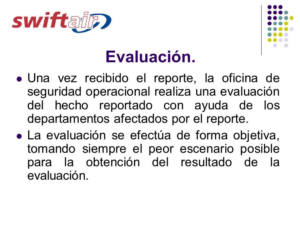 Evaluación. Una vez recibido el reporte, la oficina de seguridad operacional realiza una evaluación del hecho reportado con ayuda de los departamentos