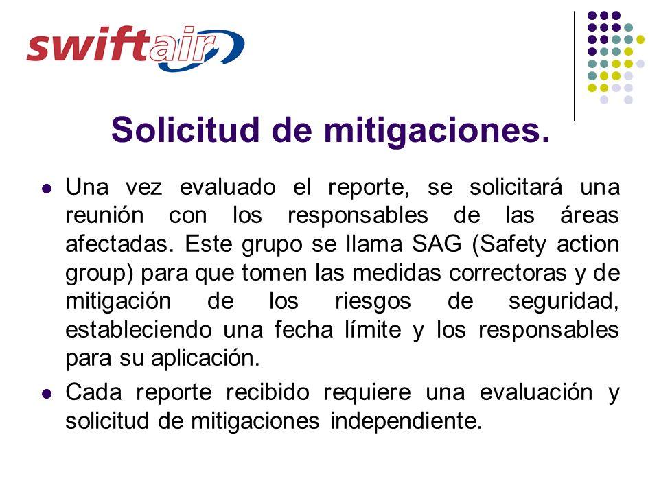 Solicitud de mitigaciones. Una vez evaluado el reporte, se solicitará una reunión con los responsables de las áreas afectadas. Este grupo se llama SAG
