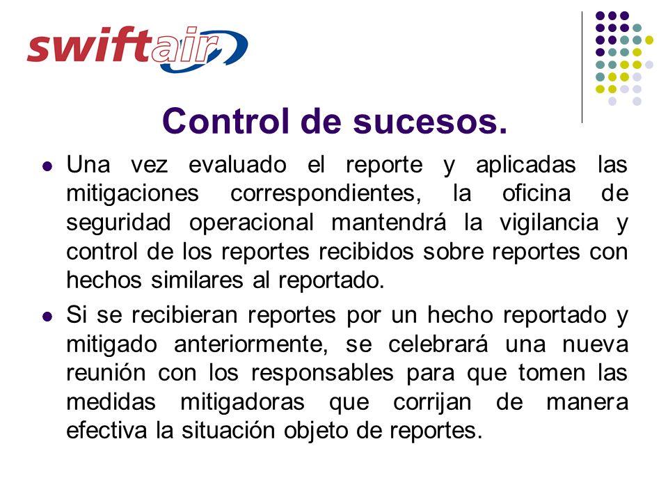 Control de sucesos. Una vez evaluado el reporte y aplicadas las mitigaciones correspondientes, la oficina de seguridad operacional mantendrá la vigila
