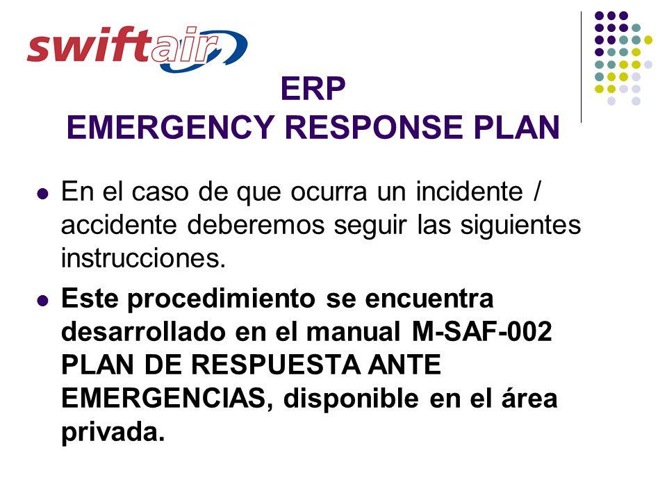 ERP EMERGENCY RESPONSE PLAN En el caso de que ocurra un incidente / accidente deberemos seguir las siguientes instrucciones. Este procedimiento se enc
