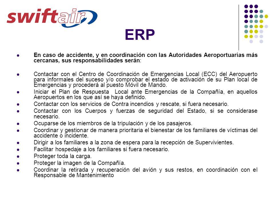 ERP En caso de accidente, y en coordinación con las Autoridades Aeroportuarias más cercanas, sus responsabilidades serán: Contactar con el Centro de C