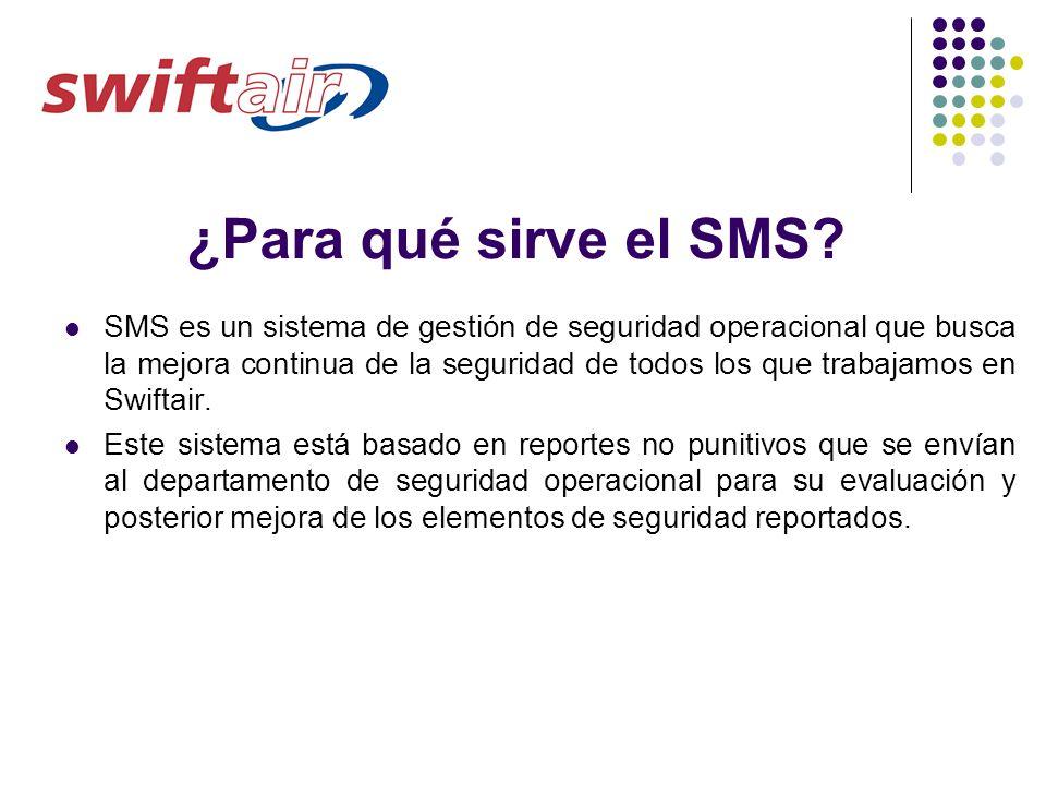 ¿Para qué sirve el SMS? SMS es un sistema de gestión de seguridad operacional que busca la mejora continua de la seguridad de todos los que trabajamos