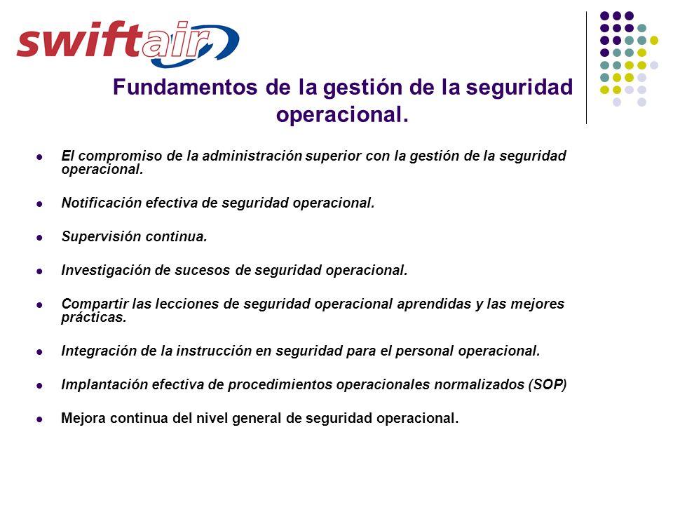 Fundamentos de la gestión de la seguridad operacional. El compromiso de la administración superior con la gestión de la seguridad operacional. Notific