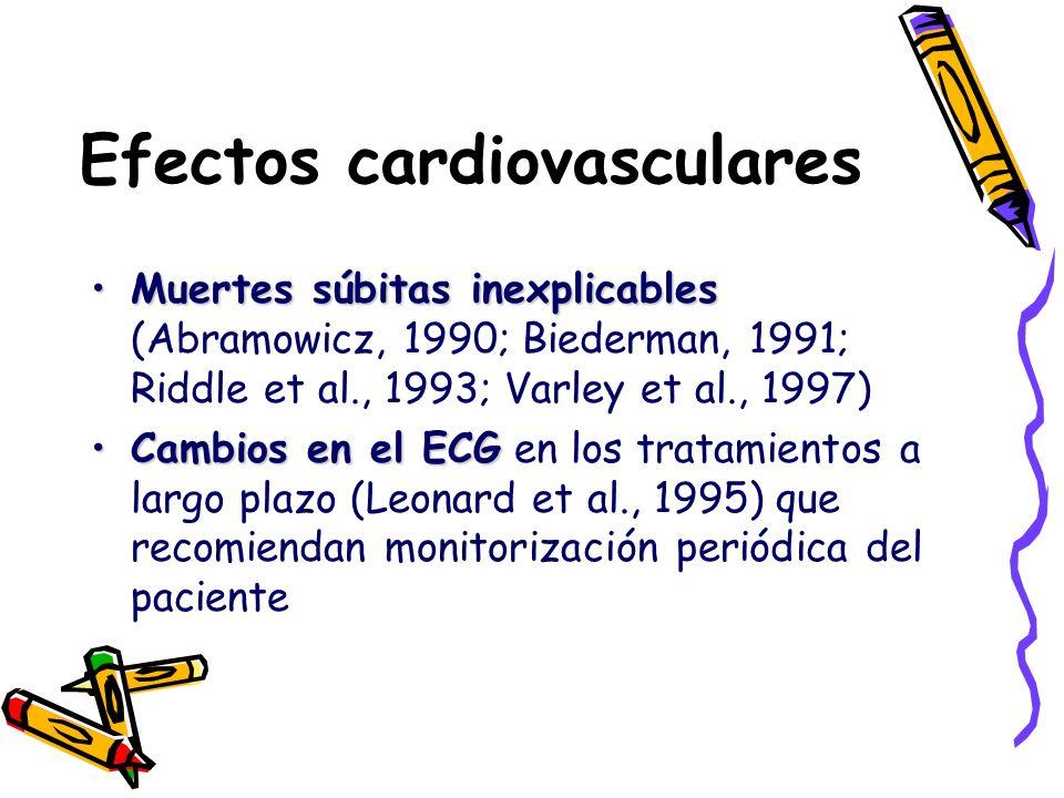Efectos cardiovasculares Muertes súbitas inexplicablesMuertes súbitas inexplicables (Abramowicz, 1990; Biederman, 1991; Riddle et al., 1993; Varley et