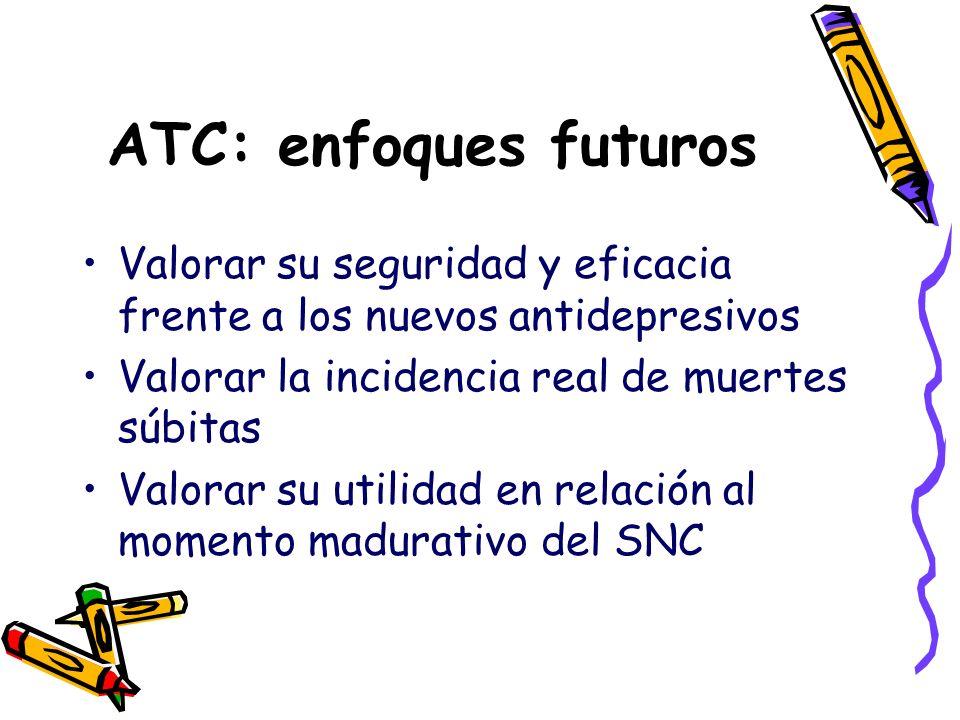 ATC: enfoques futuros Valorar su seguridad y eficacia frente a los nuevos antidepresivos Valorar la incidencia real de muertes súbitas Valorar su util