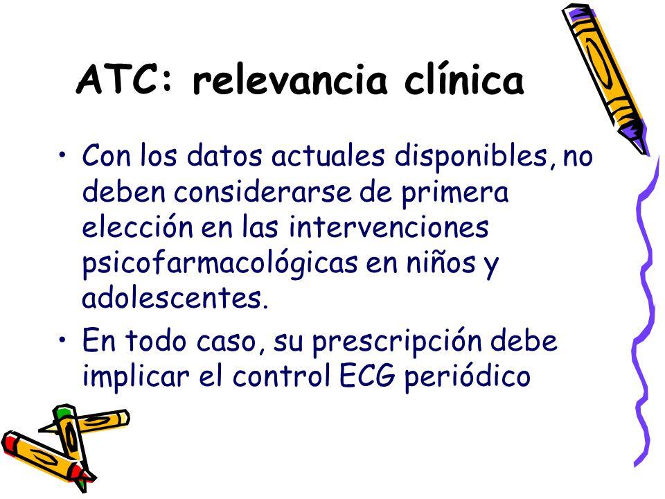 ATC: relevancia clínica Con los datos actuales disponibles, no deben considerarse de primera elección en las intervenciones psicofarmacológicas en niñ