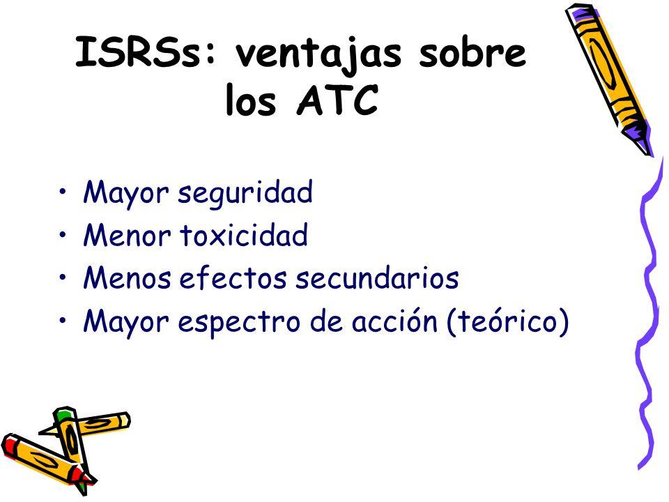 ISRSs: ventajas sobre los ATC Mayor seguridad Menor toxicidad Menos efectos secundarios Mayor espectro de acción (teórico)