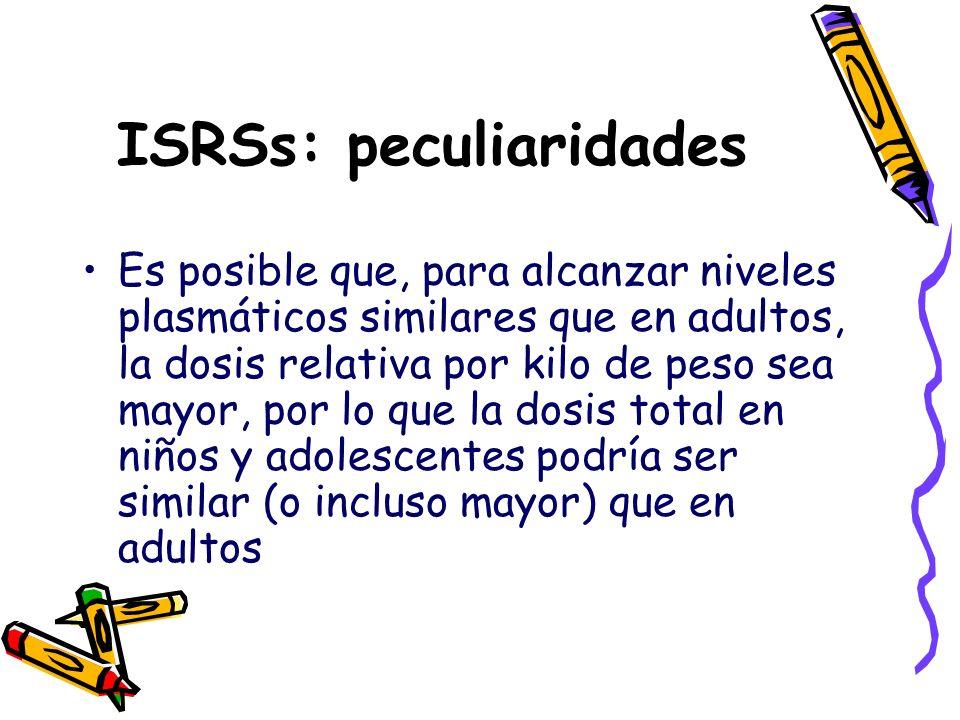 ISRSs: peculiaridades Es posible que, para alcanzar niveles plasmáticos similares que en adultos, la dosis relativa por kilo de peso sea mayor, por lo