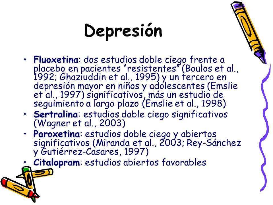 Depresión FluoxetinaFluoxetina: dos estudios doble ciego frente a placebo en pacientes resistentes (Boulos et al., 1992; Ghaziuddin et al., 1995) y un