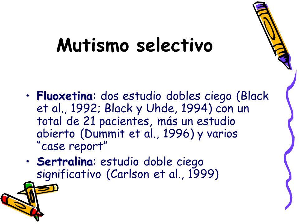 Mutismo selectivo FluoxetinaFluoxetina: dos estudio dobles ciego (Black et al., 1992; Black y Uhde, 1994) con un total de 21 pacientes, más un estudio