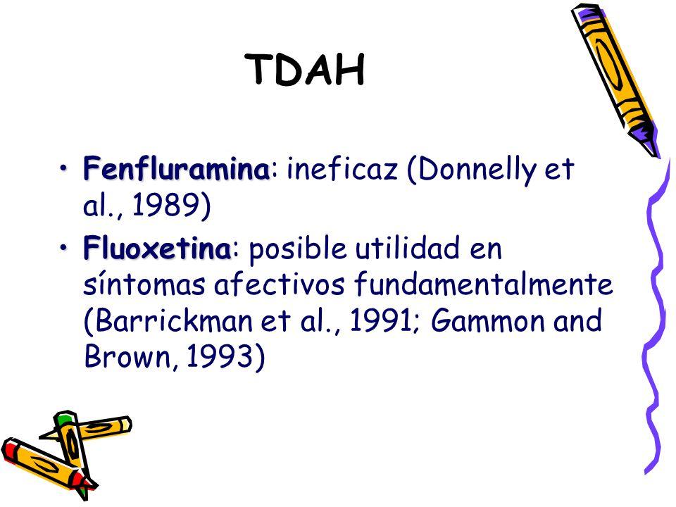 TDAH FenfluraminaFenfluramina: ineficaz (Donnelly et al., 1989) FluoxetinaFluoxetina: posible utilidad en síntomas afectivos fundamentalmente (Barrick