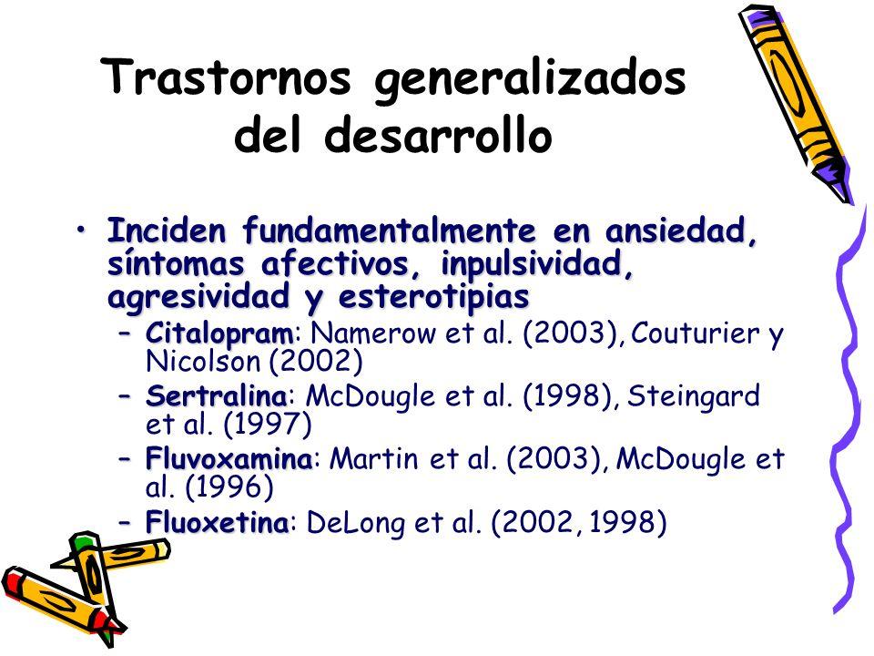 Trastornos generalizados del desarrollo Inciden fundamentalmente en ansiedad, síntomas afectivos, inpulsividad, agresividad y esterotipiasInciden fund
