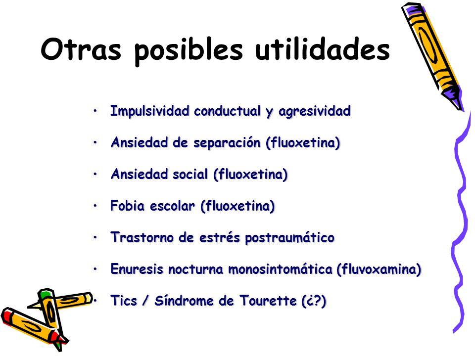 Otras posibles utilidades Impulsividad conductual y agresividadImpulsividad conductual y agresividad Ansiedad de separación (fluoxetina)Ansiedad de se