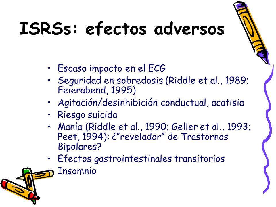 Escaso impacto en el ECG Seguridad en sobredosis (Riddle et al., 1989; Feierabend, 1995) Agitación/desinhibición conductual, acatisia Riesgo suicida M